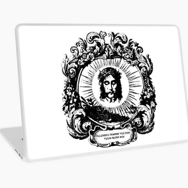 Face of Jesus with Latin Text Vintage Line Art Laptop Skin