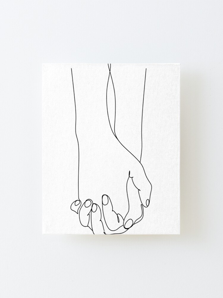 Holding Hands Print One Line Art One Line Drawing Above Bed Wall Art Romantic Poster Single Line Art Minimal Line Art Couple Print Mounted Print By Onelineprint Redbubble