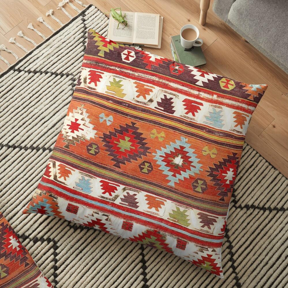 Konya Central Anatolian Kilim Print Floor Pillow