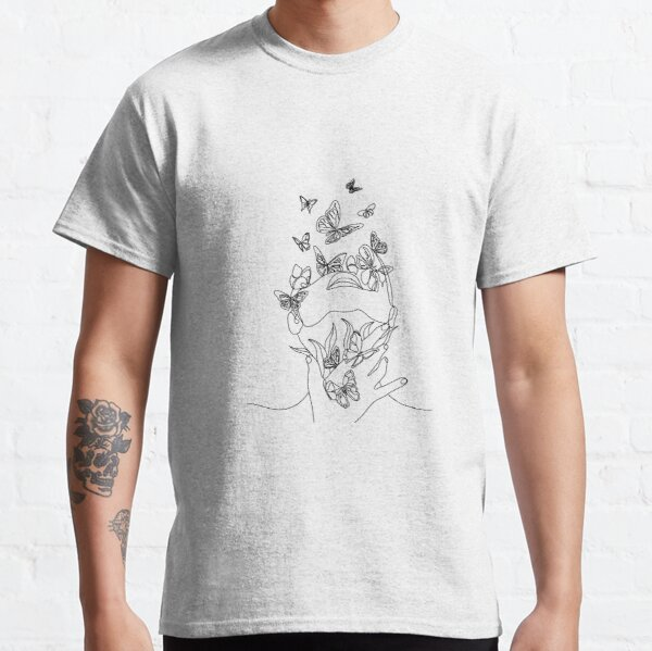 Abstract face with butterfly by one line drawing. Portrait minimalistic style.  Botanical print. Nature symbol of cosmetics. Modern continuous line art.  Fashion print. Beaty salon art Classic T-Shirt