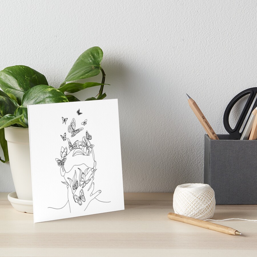 Abstract face with butterfly by one line drawing. Portrait minimalistic style.  Botanical print. Nature symbol of cosmetics. Modern continuous line art.  Fashion print. Beaty salon art Art Board Print
