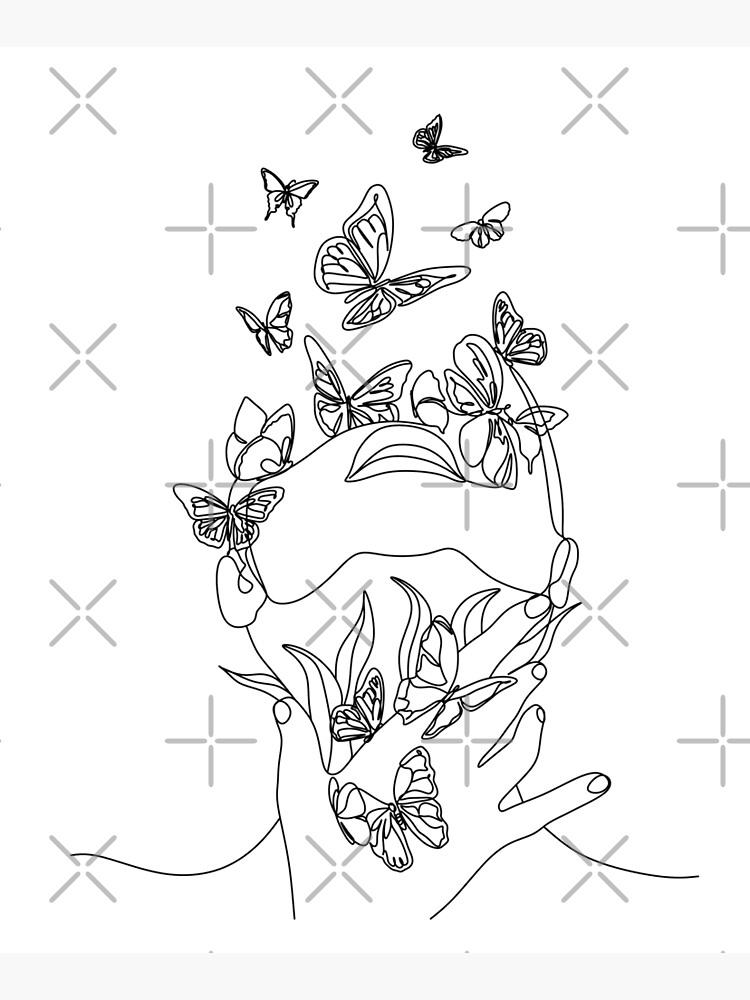 Abstract face with butterfly by one line drawing. Portrait minimalistic style.  Botanical print. Nature symbol of cosmetics. Modern continuous line art.  Fashion print. Beaty salon art by OneLinePrint
