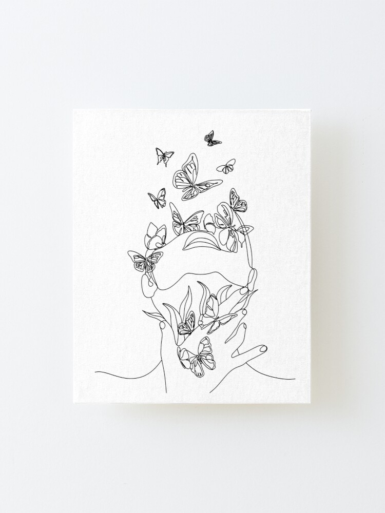 Alternate view of Abstract face with butterfly by one line drawing. Portrait minimalistic style.  Botanical print. Nature symbol of cosmetics. Modern continuous line art.  Fashion print. Beaty salon art Mounted Print