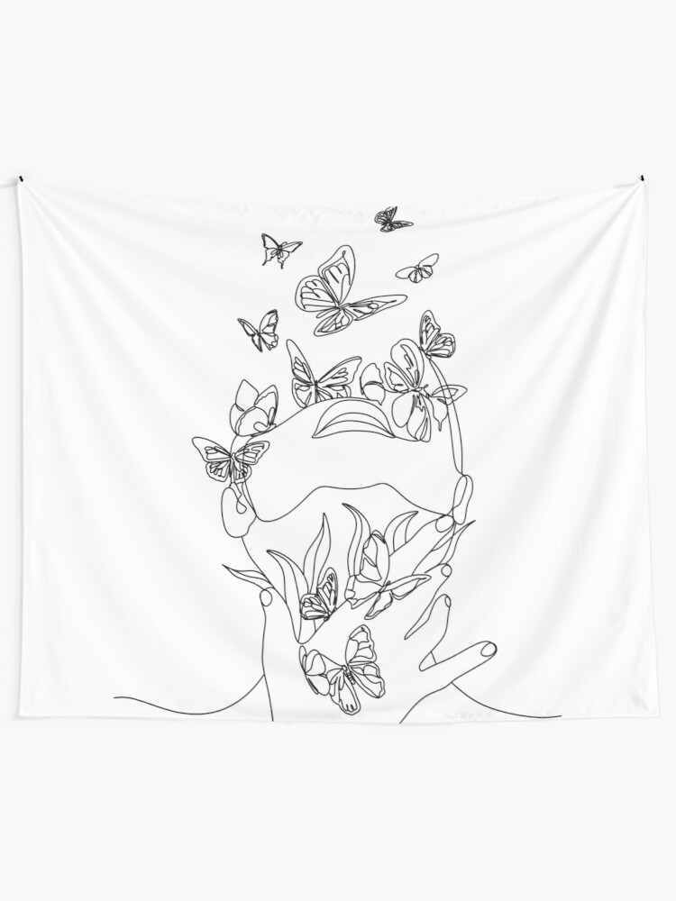 Alternate view of Abstract face with butterfly by one line drawing. Portrait minimalistic style.  Botanical print. Nature symbol of cosmetics. Modern continuous line art.  Fashion print. Beaty salon art Tapestry