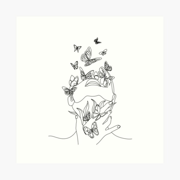 Abstract face with butterfly by one line drawing. Portrait minimalistic style.  Botanical print. Nature symbol of cosmetics. Modern continuous line art.  Fashion print. Beaty salon art Art Print