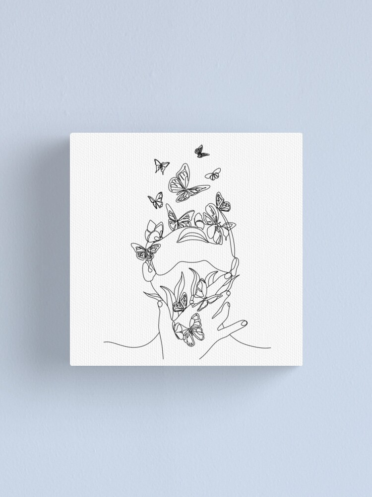 Alternate view of Abstract face with butterfly by one line drawing. Portrait minimalistic style.  Botanical print. Nature symbol of cosmetics. Modern continuous line art.  Fashion print. Beaty salon art Canvas Print