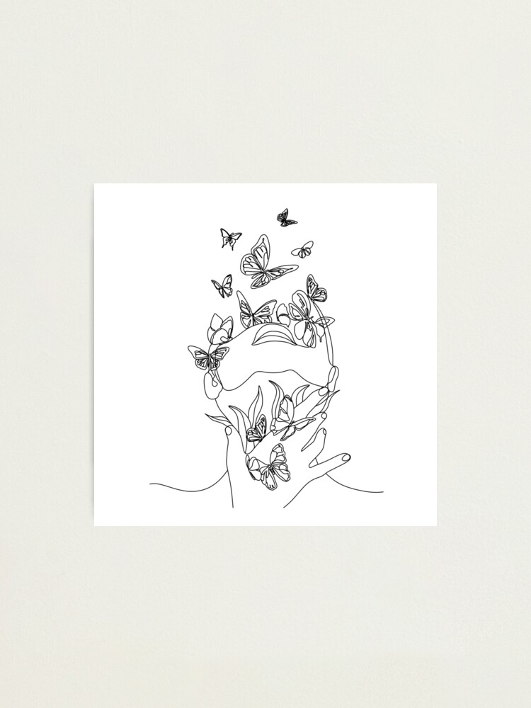 Alternate view of Abstract face with butterfly by one line drawing. Portrait minimalistic style.  Botanical print. Nature symbol of cosmetics. Modern continuous line art.  Fashion print. Beaty salon art Photographic Print