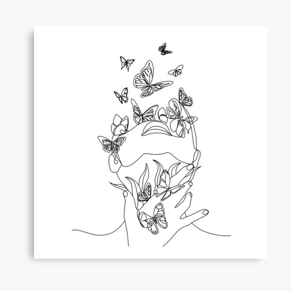 Abstract face with butterfly by one line drawing. Portrait minimalistic style.  Botanical print. Nature symbol of cosmetics. Modern continuous line art.  Fashion print. Beaty salon art Canvas Print