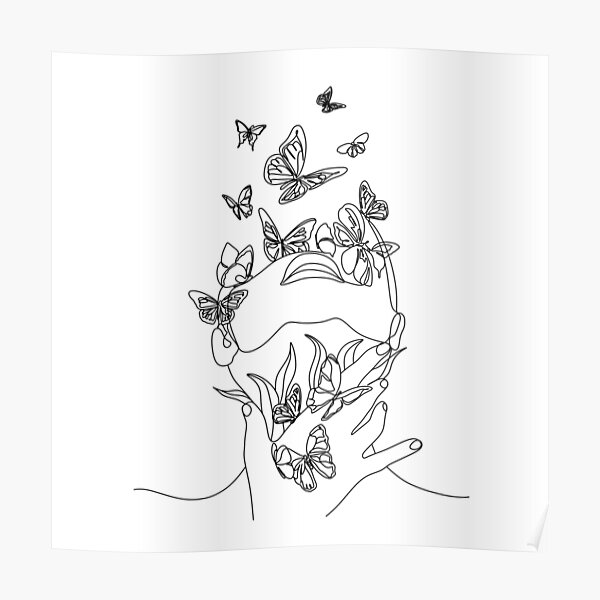 Abstract face with butterfly by one line drawing. Portrait minimalistic style.  Botanical print. Nature symbol of cosmetics. Modern continuous line art.  Fashion print. Beaty salon art Poster
