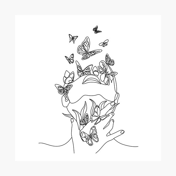 Abstract face with butterfly by one line drawing. Portrait minimalistic style.  Botanical print. Nature symbol of cosmetics. Modern continuous line art.  Fashion print. Beaty salon art Photographic Print
