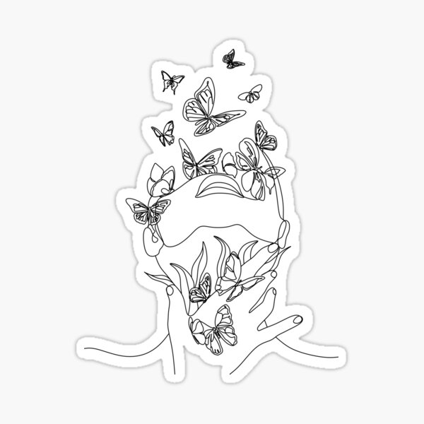 Abstraktes Gesicht mit Schmetterling durch eine Strichzeichnung. Porträt minimalistischer Stil. Botanischer Druck. Natursymbol der Kosmetik. Moderne durchgehende Strichzeichnungen. Modedruck. Beaty Salon Kunst Sticker