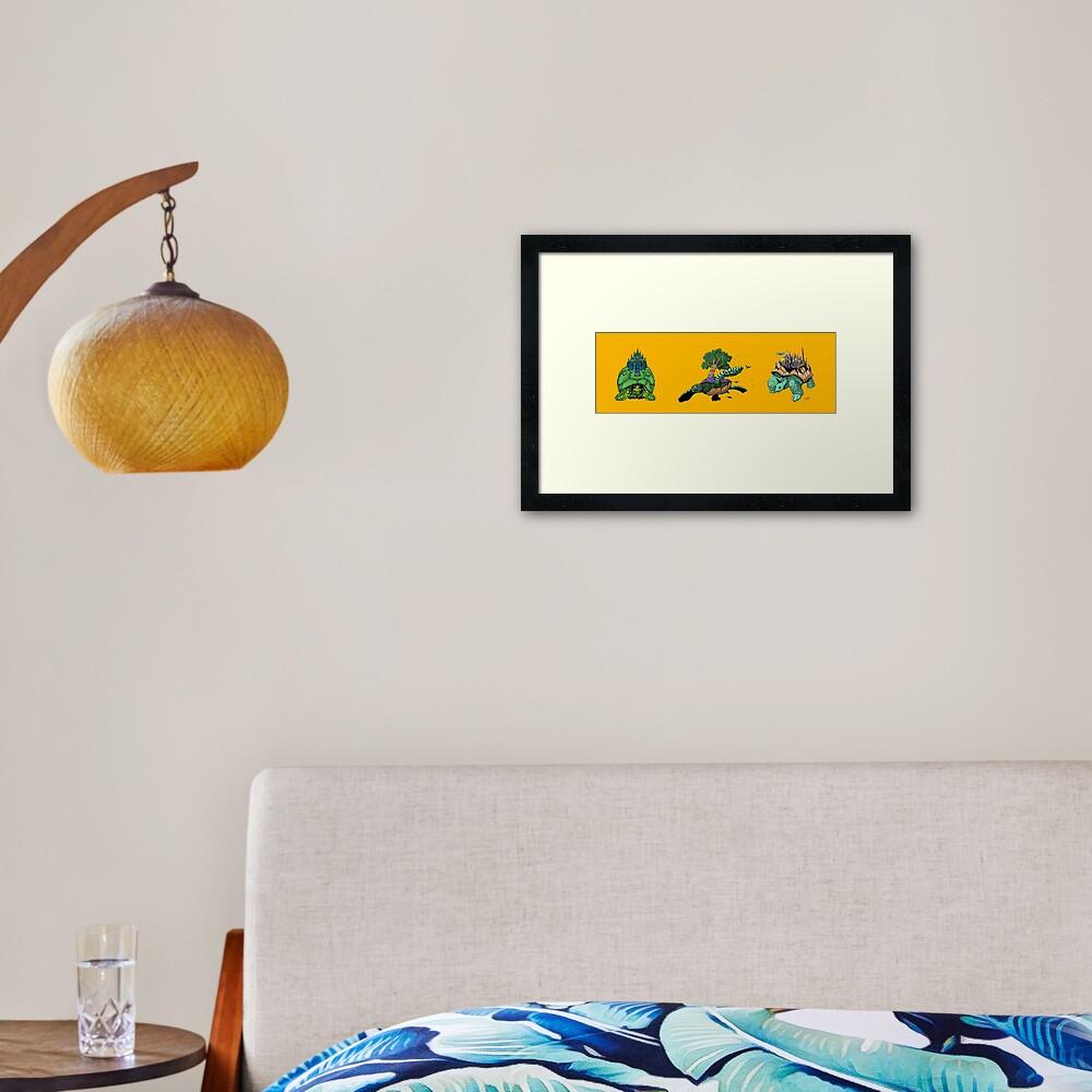 Telekinetic Tortoise Tryptych Framed Art Print