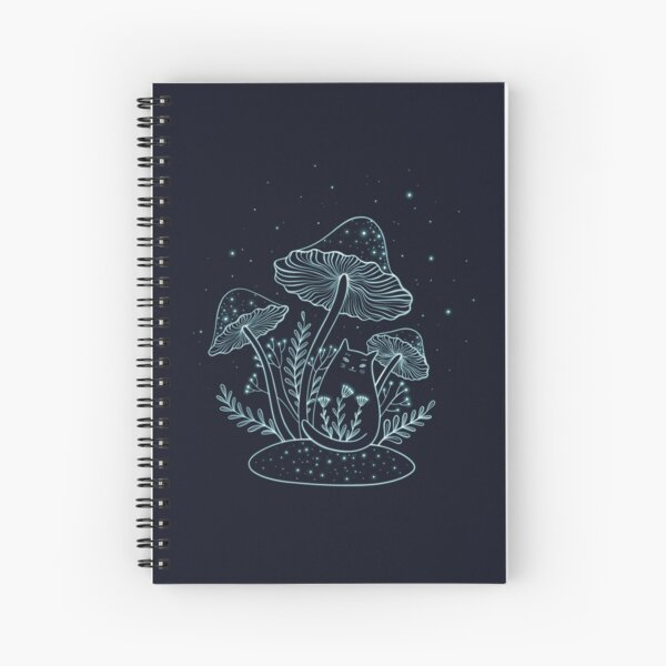 cat and mushrooms Spiral Notebook