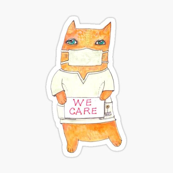 We Care Nurse Cat Sticker