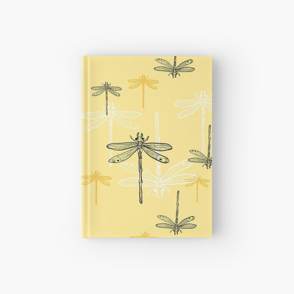 Dragonfly _ yellow theme Hardcover Journal