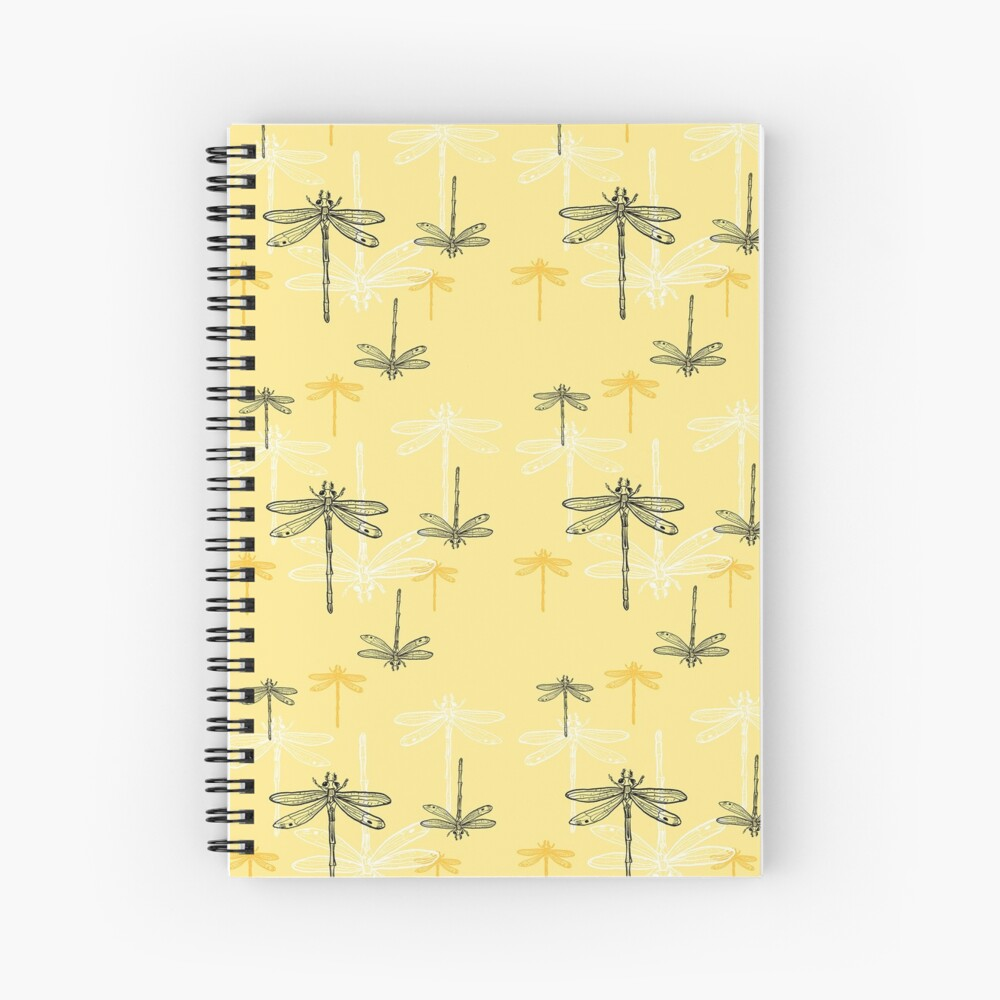 Dragonfly _ yellow theme Spiral Notebook