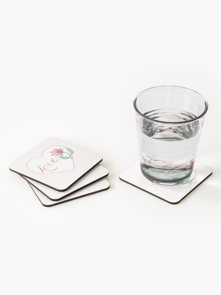 Alternate view of Send Love with Heart and Flowers Coasters (Set of 4)