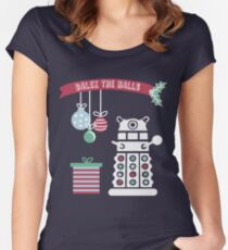 """Dalek the halls"" Christmas Design Women's Fitted Scoop T-Shirt"