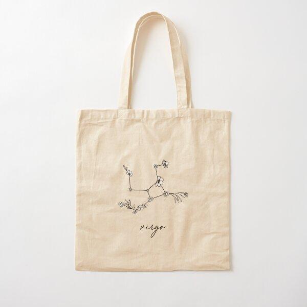Virgo Zodiac Wildflower Constellation Cotton Tote Bag