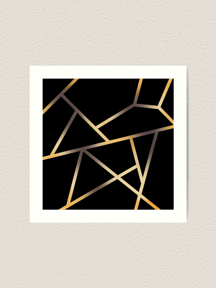 Alternate view of Linework gold phone case Art Print