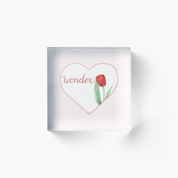 Encourage Wonder and Love with Heart and Flowers Acrylic Block
