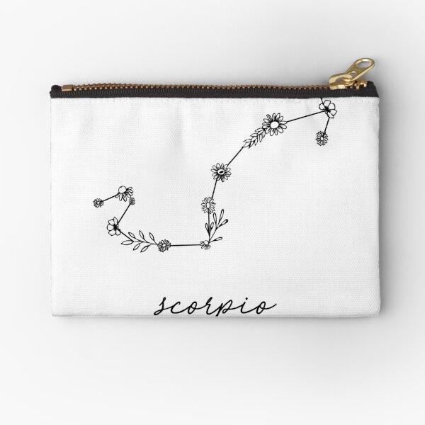 Scorpio Zodiac Wildflower Constellation Zipper Pouch