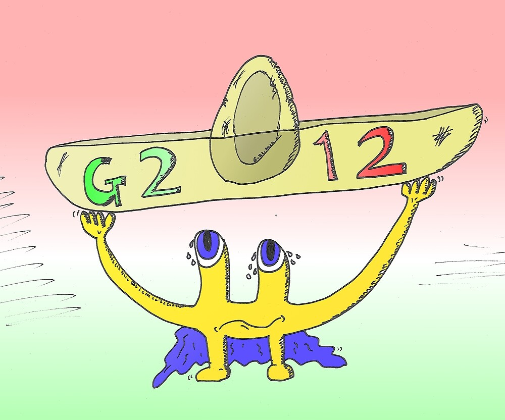 binary options news caricature of the G2012 sombrero summit by Binary-Options