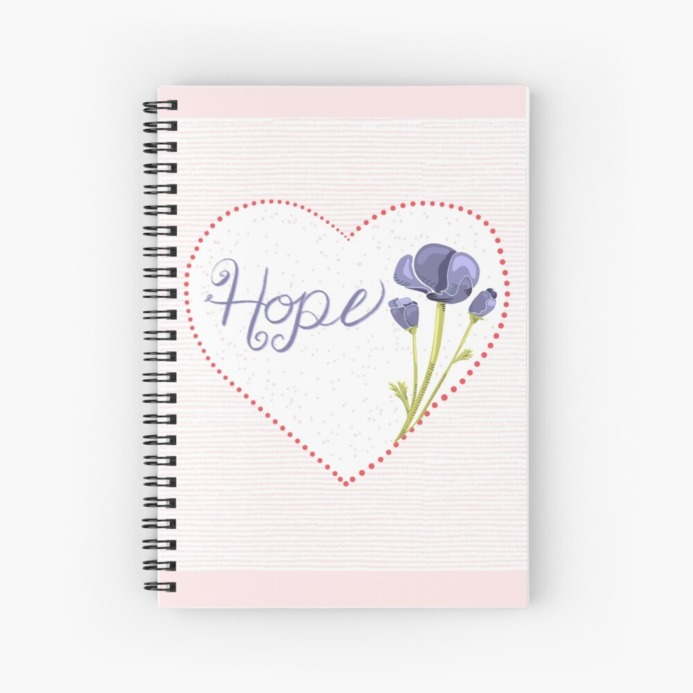 Hope and Love with Heart and Flowers Spiral Notebook