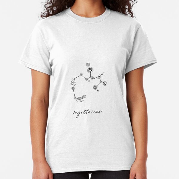 Sagittarius Zodiac Wildflower Constellation Classic T-Shirt