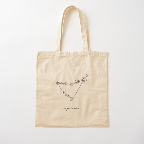 Capricorn Zodiac Wildflower Constellation Cotton Tote Bag
