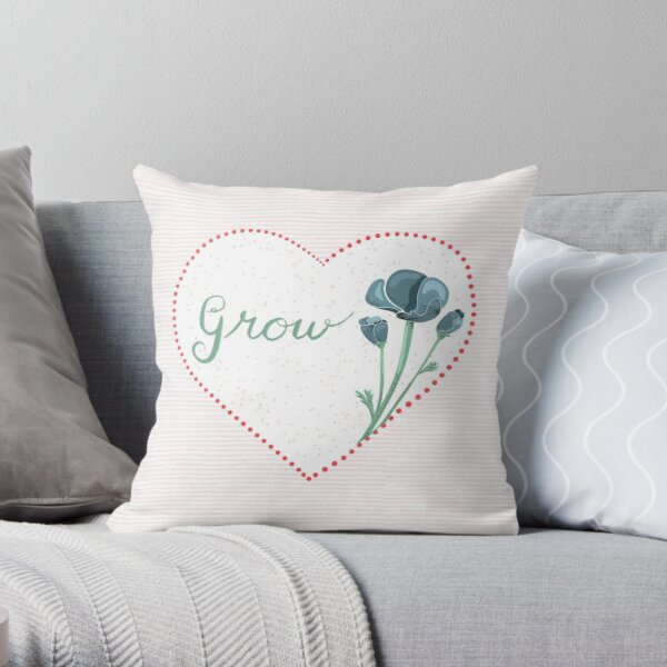 Grow Love with Heart and Flowers Throw Pillow