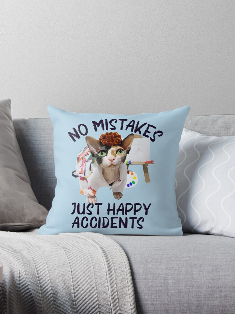 Fluffer Ross Creating Happy Accidents With Passion Throw Pillow By Humomhandicraft Redbubble