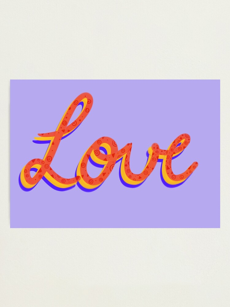 Alternate view of Love lettering calligraphy Photographic Print