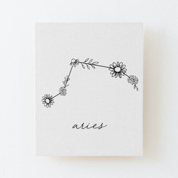 Aries Zodiac Wildflower Constellation Wood Mounted Print