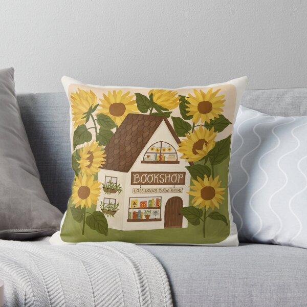 Sunflower Bookshop Throw Pillow