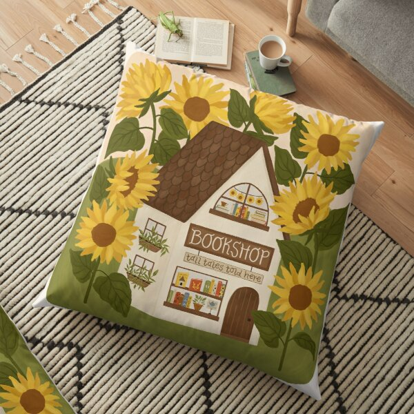 Sunflower Bookshop Floor Pillow