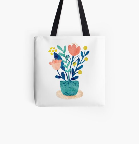 Watercolor Tulips All Over Print Tote Bag