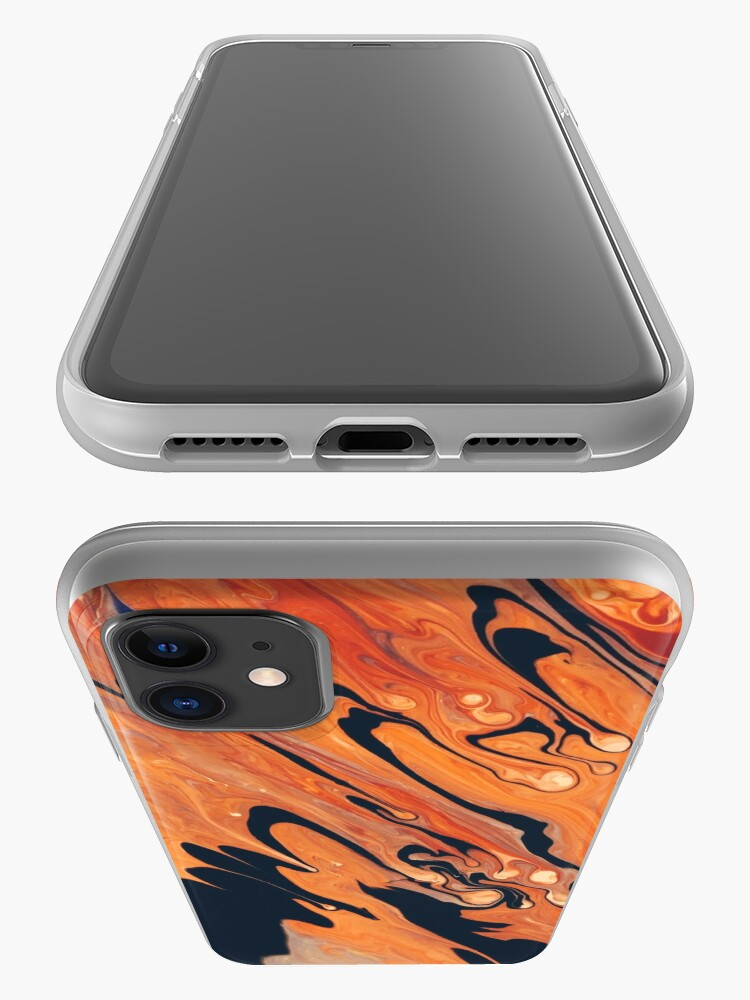 Alternate view of Black and orange abstract art phone case iPhone Case & Cover