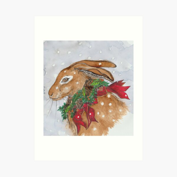 Christmas Hare Art Print