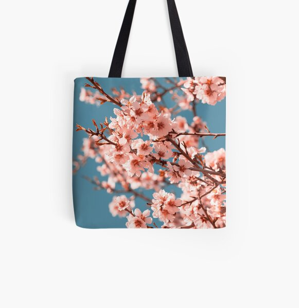 Pink Flowers Blooming Peach Tree at Spring All Over Print Tote Bag