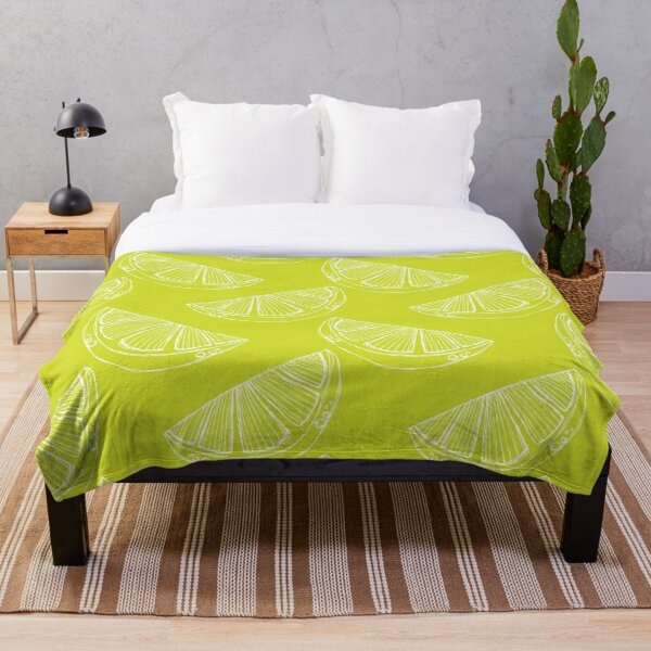 Line Drawing Limes in White and Green Palette Throw Blanket