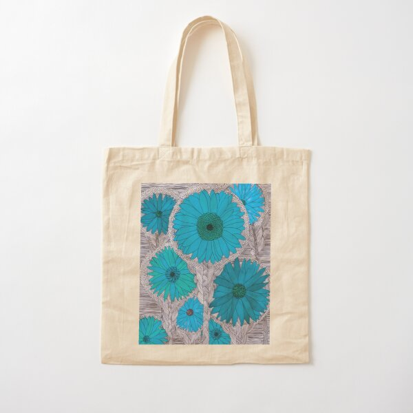 Gerbera Daisy-Teal Cotton Tote Bag
