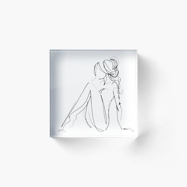 One Line Women Body Art Acrylic Block