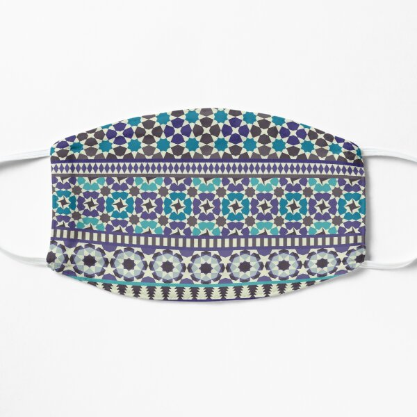 Alhambra Tessellations - Turquoise, Violet and grey on white by Cecca Designs Flat Mask