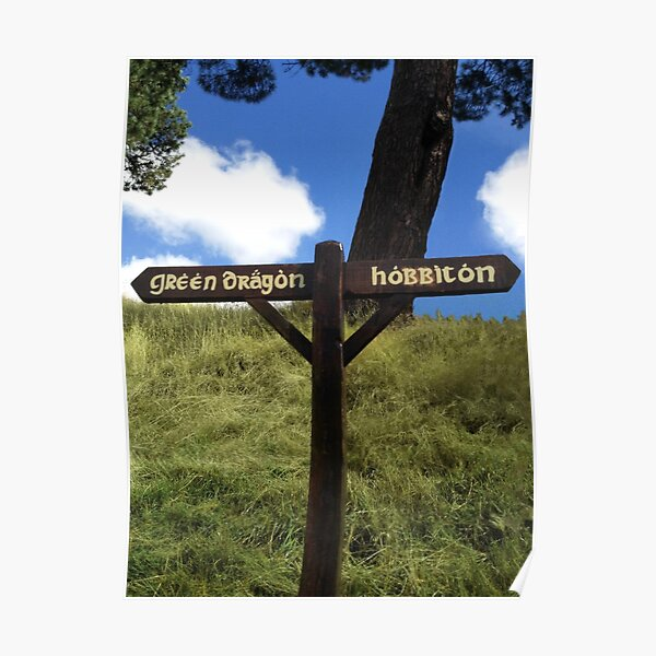 Sign to the Green Dragon and Hobbiton Poster