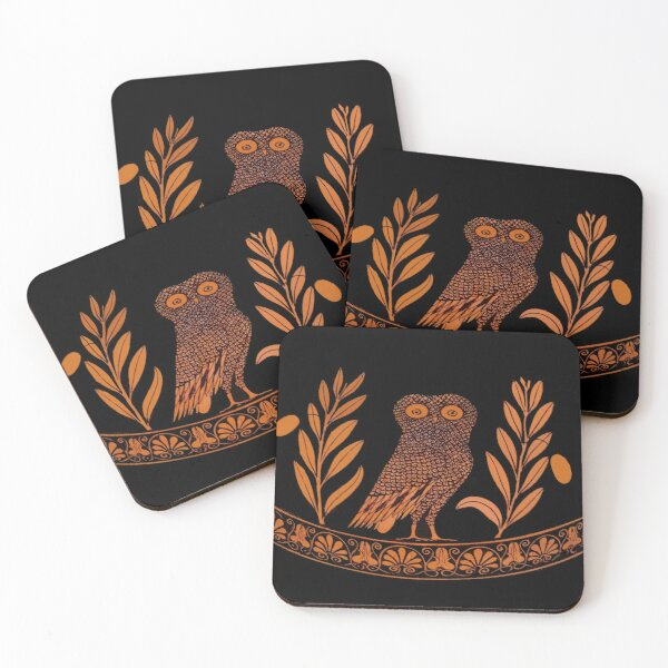 Attic Red-Figure Kalpis Owl Athena Olive Coasters (Set of 4)