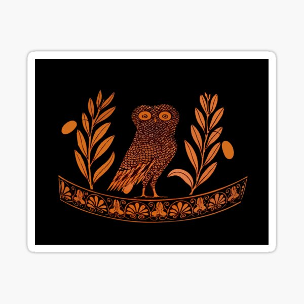 Attic Red-Figure Kalpis Owl Athena Olive Sticker