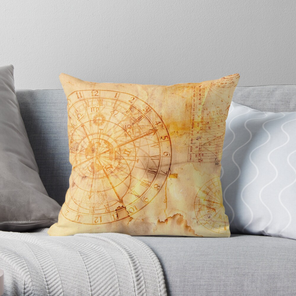 Sternzeichen und astronomische Uhr Dekokissen