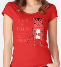Sexy Tiger - funny cartoon illustration with typography in pink (?) Women's Fitted Scoop T-Shirt