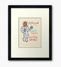 Scientific Astronauts - funny cartoon drawing with handwritten text Framed Print
